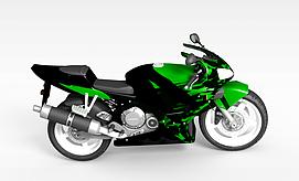 3d绿色<font class='myIsRed'>摩托车</font>模型