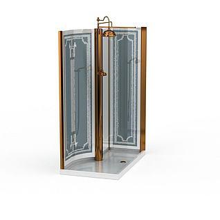 精装淋浴室3d模型