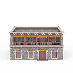 藏式建筑模型3d模型