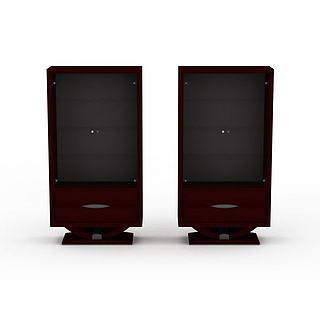 红色展示柜3d模型