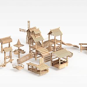 木质古建筑模型3d模型