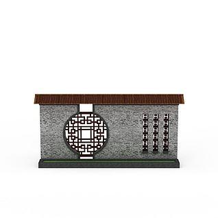 园林景墙3d模型3d模型