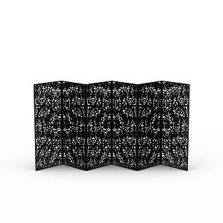 黑色折叠屏风3d模型