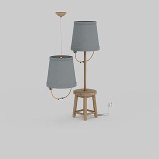 桶状灯具组合3d模型