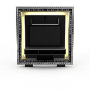 现代包花边电视墙模型3d模型