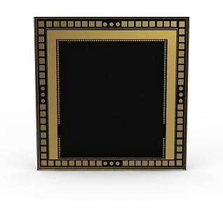 金色镶边电视墙3d模型