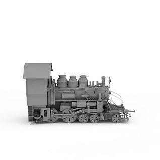 老式火车头3d模型