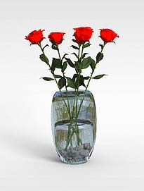 3d玫瑰花插花装饰模型