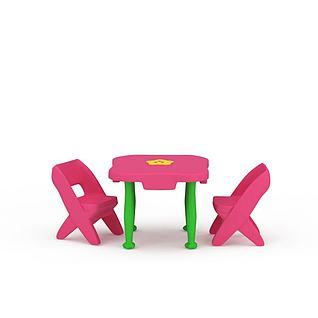 可爱儿童桌椅套装3d模型