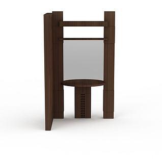 精品木质洗漱台3d模型