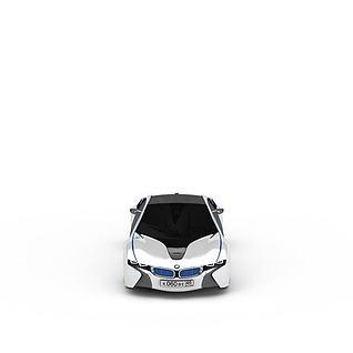 白色镶蓝边跑车3d模型
