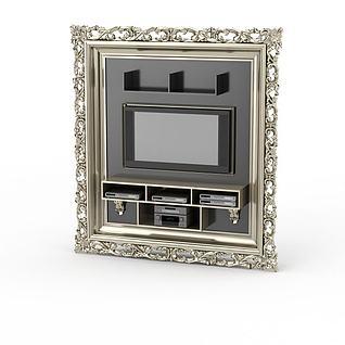 雕花相框状电视墙3d模型