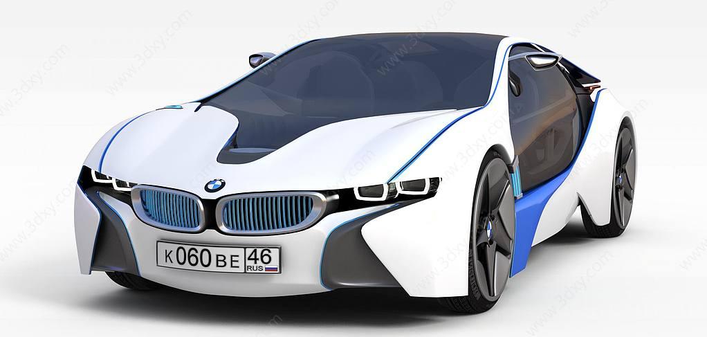 白色镶蓝边跑车