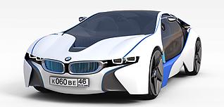 3d白色镶蓝边跑车模型