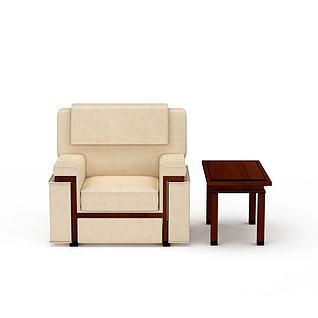 高档米色贵宾沙发椅3d模型