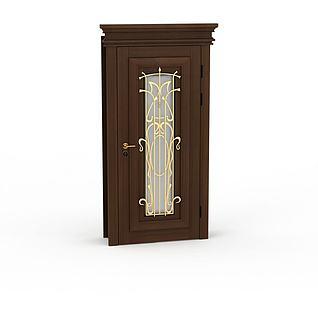 欧式金属雕花装饰房门3d模型