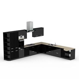 炫酷黑色整体橱柜3d模型