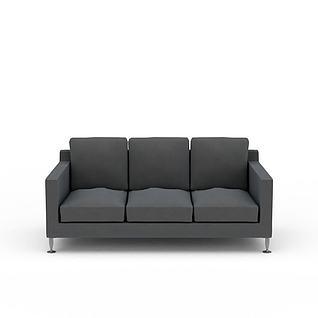 现代深灰色极简主义三人沙发3d模型