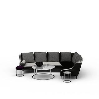 时尚灰黑两色转角沙发套装3d模型