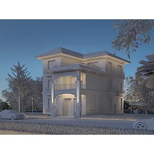 夜景别墅3d模型3d模型