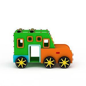 橡皮泥校車模型3d模型