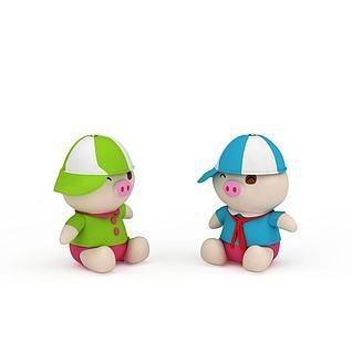 毛绒小猪3d模型