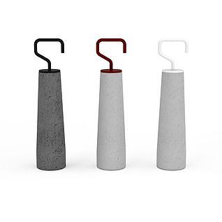 创意粗管毛巾架3d模型