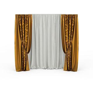 精美双层金色布艺窗帘3d模型3d模型