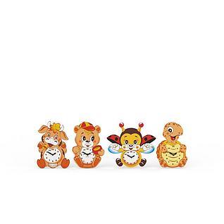 可爱卡通造型儿童闹钟3d模型