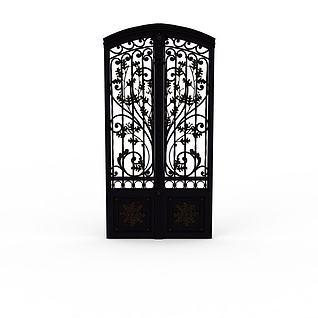 别墅雕花大铁门3d模型
