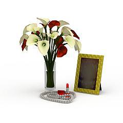 精美插花镜框摆件模型3d模型