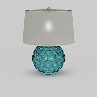 时尚湖蓝色底座台灯3d模型