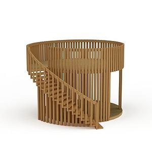 创意实木旋转楼梯模型