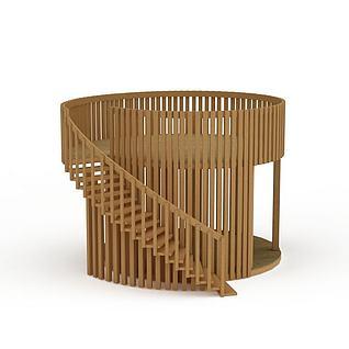创意实木旋转楼梯3d模型