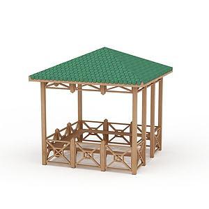 小区绿色瓦棚凉亭模型
