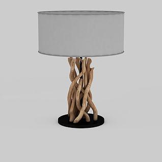 时尚树枝造型支架灰色台灯3d模型