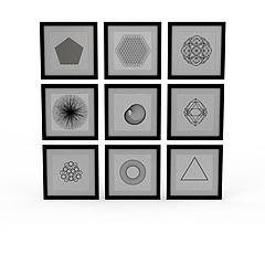 精品几何图案装饰画模型3d模型