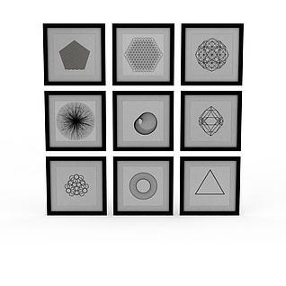 精品几何图案装饰画3d模型
