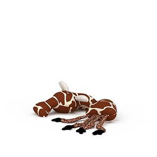 毛绒长颈鹿布偶玩具3d模型