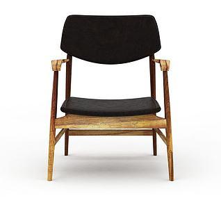 创意实木黑色皮坐垫改良太师椅3d模型