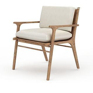 现代实木米色软坐垫休闲椅子3d模型