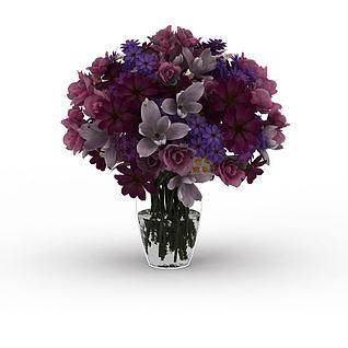 暖色系鲜花插花3d模型