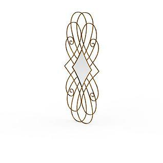 现代金色金属镶镜雕花3d模型