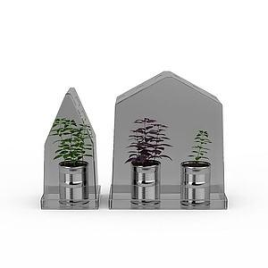 3d温室花草盆栽模型