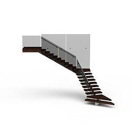 现代实木转角楼梯模型