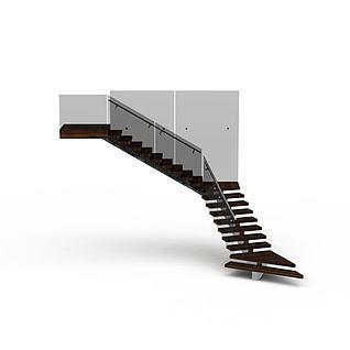 现代实木转角楼梯3d模型