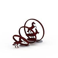 红色金属骏马雕塑3d模型