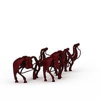 红色骆驼雕塑3d模型