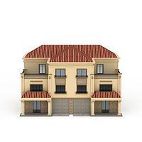大型欧式双拼别墅3d模型