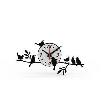 创意黑白拼色树枝造型钟表3d模型